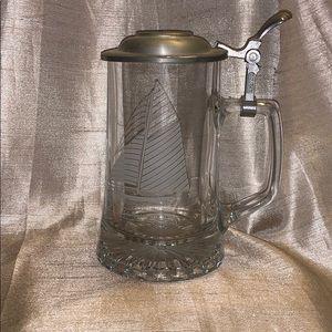 ALWE etched German stein mug pewter